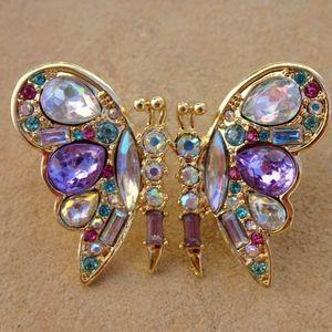 Big Butterfly Rhinestone Jewel Post Earrings